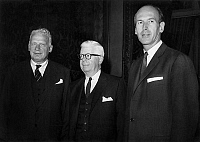 0142927 © Granger - Historical Picture ArchiveGEORGE BALL, HENRY FOWLER AND VALERY GISCARD D'ESTAING.   l-r George Ball (the american assistant of foreign minister), Henry Fowler ( american minister in charge of public finance) and Valery-Giscard d'Estaing (french minister of finance) at the ministry of finance in Paris, august 30, 1965. Full credit: AGIP - Rue des Archives / Granger, NYC -- All rights