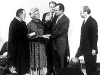 0142936 © Granger - Historical Picture ArchiveGEORGE H.W. BUSH (1924- ).   41st President of the United States. Photographed taking oath as Director of the Central Intelligence Agency, January, 1976. With President Gerald Ford, Potter Stewart, Barbara Bush and Vernon Walter. Full credit: AGIP - Rue des Archives / Granger, NYC -- All rights rese