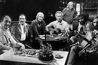 0142990 © Granger - Historical Picture ArchiveGEORGES BRASSENS.   French singer Georges Brassens with Pierre Tchernia Jean Marc Thibault Marcel Amont and Maxime Le Forestier during the television show sur un air de chason (he tune of a song), October 8, 1975. Full credit: AGIP - Rue des Archives / Granger, NYC -- All rights reserved.