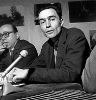 0143014 © Granger - Historical Picture ArchiveGEORGES OF BEAUREGARD AND JACQUES RIVETTE.   Press conference after censorship of the film, France, april 5, 1966 : Georges de Beauregard (producer of the film) and Jacques Rivette (director of the film). Full credit: AGIP - Rue des Archives / Granger, NYC -- All rights reserved.