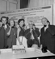 0143081 © Granger - Historical Picture ArchiveGEORGES GUETARY.   Georges Guetary phoning Alexandria, Tilda Thamar Buenos Aires, Jane Crain Hollywood, Foujita Tokyo and Christian Dior New York at first floor of Eiffel tower at the occasion of the presentation of international directory on september 23, 1954. Full credit: AGIP - Rue des Archives / Granger, NYC -- All rights reserved.