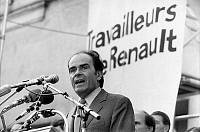 0143113 © Granger - Historical Picture ArchiveGEORGES MARCHAIS.   Georges Marchais candidate at french presidential elections during a speech to workers of Renault in Boulogne Billancourt october 21, 1980. Full credit: AGIP - Rue des Archives / Granger, NYC -- All rights reserved.