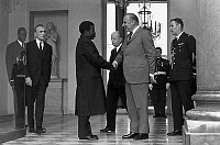 0143205 © Granger - Historical Picture ArchiveGEORGES POMPIDOU.   Official visit of president of Congo republic : commandant Marien NGouabi at the Elysee in Paris, here with french president Georges Pompidou on march 13, 1972. Full credit: AGIP - Rue des Archives / Granger, NYC -- All Rights Reserved.