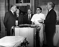 0143216 © Granger - Historical Picture ArchiveGEORGES POMPIDOU.   At the Institut Gustave Roussy (cancer research institute), french prime minister Georges Pompidou (l) listening professeur Denoix (director, r) and doctor Cachin on march 23, 1965. Full credit: AGIP - Rue des Archives / Granger, NYC -- All rights reserved.