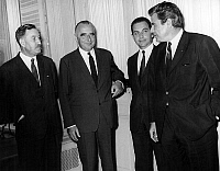 0143299 © Granger - Historical Picture ArchiveGEORGES POMPIDOU, CANDIDAT.   Georges Pompidou, candidate to presidential election, receiving at his quarters Mr. Claudius Petit, Joseph Fontanet and Jacques Duhamel for new stage of electoral campaign june 03, 1969. Full credit: AGIP - Rue des Archives / Granger, NYC -- All rights reserved.