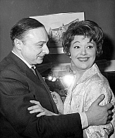 0143441 © Granger - Historical Picture ArchiveGERARD OURY.   Gerard Oury congratulating Edwige Feuillere after premiere of play Eve et Line january 15, 1963. Full credit: AGIP - Rue des Archives / Granger, NYC -- All rights re