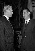 0143480 © Granger - Historical Picture ArchiveGERHARD SCHROEDER AND MAURICE COUVE OF MURVILLE.   Gerhard Schroeder (r), german foreign minister and Maurice Couve de Murville (l), french minister of foreign affairs during their first meeting in Paris, november 12, 1965. Full credit: AGIP - Rue des Archives / Granger, NYC -- All rights reserved.