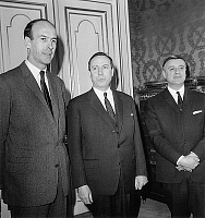 0143688 © Granger - Historical Picture ArchiveGISCARD D' ESTAING.   transfer of powers at french minister of finances between former minister Giscard et new minister Debre on january 10, 1966. Full credit: AGIP - Rue des Archives / Granger, NYC -- All rights reserved.