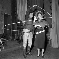 0143800 © Granger - Historical Picture ArchiveGLORIA LASSO.   Gloria Lasso singer form spanish roigins, has been appointed president of Lasso club and Rene Baranger member of Lasso club on december 27, 1955. Full credit: AGIP - Rue des Archives / Granger, NYC -- All rights reserved.