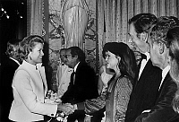 0143857 © Granger - Historical Picture ArchiveGRACE OF MONACO AND CATHERINE ALLEGRET.   Princess Grace of Monaco congratulating Catherine Allegret, Yves Montand, Claude Sautet , and back row Serge Reggiani, during premiere of film Vincent, Francois, Paul et les autres in Monte Carlo october 04, 1974. Full credit: AGIP - Rue des Archives / Granger, NYC -- All Rights Reserved.