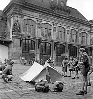 0144031 © Granger - Historical Picture ArchiveGREVE OF CHEMINS OF FER.   Railway strike in France june 07, 1947 : boy scout pitching tent outside Austerlitz station in Paris. Full credit: AGIP - Rue des Archives / Granger, NYC -- All Rights Reserved.