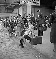 0144038 © Granger - Historical Picture ArchiveGREVE OF CHEMINS OF FER, 1947.   Railway strike in France june 07, 1947 : here outside a parisian station. Full credit: AGIP - Rue des Archives / Granger, NYC -- All rights reserve