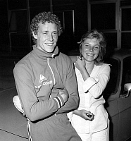 0144252 © Granger - Historical Picture ArchiveGUY DRUT.   French athlete Guy Drut and his fiancee Bridget in Nice (French Riviera) on august 3, 1973. Full credit: AGIP - Rue des Archives / Granger, NYC -- All rights reserved.