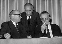 0144314 © Granger - Historical Picture ArchiveGUY MOLLET.   french politicians Guy Mollet Gaston Deffere and Mr Foucquard during socialist congress discussing about the yes vote for referendum about Algeria selfdetermination december 21, 1960 at the time of war in Algeria. Full credit: AGIP - Rue des Archives / Granger, NYC -- All rights reserv