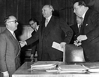 0144429 © Granger - Historical Picture ArchiveHALLSTEIN, ADENAUER AND ALTMAIER IN 1955.   Left to right, the professor Walter Hallstein, german state secretary of the ministry of the foreign affair, the german chancellor Konrad Adenauer and Altmaier, the president of the Bundesrat, after the speech of Adenauer about the agreement of Paris, on march 21st, 1955. Full credit: AGIP - Rue des Archives / The