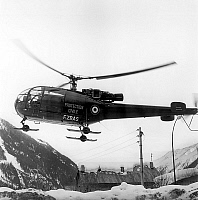 0144558 © Granger - Historical Picture ArchiveHELICOPTERE OF THE PROTECTION CIVILE.   civil defence helicopter used in search after crash of Air India Kanchenjunga Boeing 707 in Mont Blanc massif, january 26, 1966. Full credit: AGIP - Rue des Archives / Granger, NYC -- All rights reser