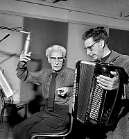 0144596 © Granger - Historical Picture ArchiveHENRI OF MONFREID.   famous explorer Henry de Monfreid (85) recording sea songs for his first record , with accordionist Freddy Balta february 26, 1965. Full credit: AGIP - Rue des Archives / Granger, NYC -- All rights reserved.