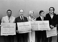 0144700 © Granger - Historical Picture ArchiveHENRI SALVADOR.   The winners of international disc prize 1972 : l-r : Henri Salvador, Pierre Fresnay, Betty Mars, Thierry Le Luron and Michel Legrand. Full credit: AGIP - Rue des Archives / Granger, NYC -- All rights reserved.