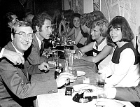 0144722 © Granger - Historical Picture ArchiveHENRI TISOT.   Henri Tisot (l) Jacques Chazot Francoise Sagan and Juliette Greco at opening of restaurant La fontaine des quatre saisons october 5, 1966. Full credit: AGIP - Rue des Archives / Granger, NYC -- All rights reserved.
