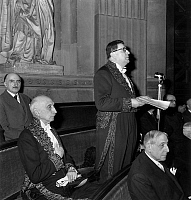 0144746 © Granger - Historical Picture ArchiveHENRI TROYAT A L'ACADEMIE FRANCAISE.   Induction of french writer Henri Troyat at the Academie Francaise, on february 25, 1960 : here making a speech, near him : Francois Mauriac, behind : Paul Bastide. Full credit: AGIP - Rue des Archives / Granger, NYC -- All rights reserved.