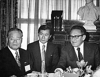 0144812 © Granger - Historical Picture ArchiveHENRY KISSINGER ETMASAYOSHI OHIRA.   American state secretary Henry Kissinger (r) meeting Japanese Foreign Minister Masayoshi Ohira (l) n Washington november 02, 1974 following the opening session of the 13 nation oil consumer conference (man in center of photo is an interpreter). Full credit: AGIP - Rue des Archives / Granger, NYC -- All rights reserved.