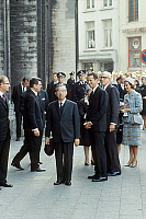 0144888 © Granger - Historical Picture ArchiveHIRO HITO, FABIOLA AND BAUDOUIN 1ER OF BELGIQUE.   Japanese emperor Hiro Hito in Belgium with queen Fabiola and king Baudouin 1st of Belgium on october 1st, 1971. Full credit: AGIP - Rue des Archives / Granger, NYC -- All rights reserved.