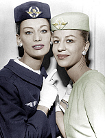 0144981 © Granger - Historical Picture ArchiveHOTESSES OF L'AIR.   Air France company stewardesses may 1960 (uniform by Georgette de Treze) colorized document. Full credit: AGIP - Rue des Archives / Granger, NYC -- All rights