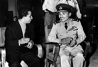 0145081 © Granger - Historical Picture ArchiveHUSSEIN OF JORDANIE.   king of Iraq Faysal II (1935-1958) king in 1939-1958 with king Hussein of Jordian june 16, 1956 in Amman. Full credit: AGIP - Rue des Archives / Granger, NYC -- All Rights Reserved.