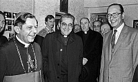 0145148 © Granger - Historical Picture ArchiveINAUGURATION DU FOYER OF ETUDIANTS POLONAIS.   Opening of polish students hostel : l-r : polish cardinal Jozef Glemp, cardinal Jean-Marie Lustiger, Jacques Chirac ; background : Angelo Felici november 12, 1981. Full credit: AGIP - Rue des Archives / Granger, NYC -- All rights reserved.