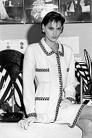 0145212 © Granger - Historical Picture ArchiveINES OF THE FRESSANGE.   Ines de la Fressange presenting new spring-summer 1987 Chanel collection. Full credit: AGIP - Rue des Archives / Granger, NYC -- All rights reserved.