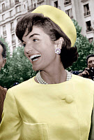 0145522 © Granger - Historical Picture ArchiveJACKIE KENNEDY.   Jacqueline Kennedy during her official visit to Paris 1961, Jackie wearing Alaskine (wool and silk) created by Oleg Cassini, pillbox hat created by Roy Halston Frowick. Full credit: AGIP - Rue des Archives / Granger, NYC -- All Rights Reserved.