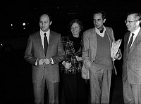 0145631 © Granger - Historical Picture ArchiveJACQUES ABOUCHAR LIBERE.   as soon as he was released from afghan jails, Jacques Abouchar greeted at Orly airport by his wife and politicians Laurent Fabius and Louis Mermaz october 29, 1984. Full credit: AGIP - Rue des Archives / Granger, NYC -- All Rights Reserved.