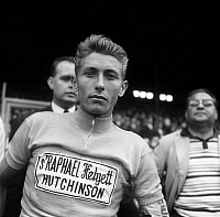 0145653 © Granger - Historical Picture ArchiveJACQUES ANQUETIL.   french cyclist Jacques Anquetil at the finish of french cycling race july 15, 1962. Full credit: AGIP - Rue des Archives / Granger, NYC -- All rights reserved.