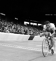 0145658 © Granger - Historical Picture ArchiveJACQUES ANQUETIL.   cyclist Jacques Anquetil arriving in the parc des Princes stadium in Paris at the finish of Paris-Roubaix cycling race september 19, 1965. Full credit: AGIP - Rue des Archives / Granger, NYC -- All rights reserved.
