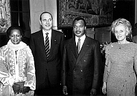 0145936 © Granger - Historical Picture ArchiveJACQUES CHIRAC AND DENIS SASSOU N'GUESSO.   Mrs Sassou N'Guesso, Jacques Chirac (mayor of Paris), Denis Sassou-N'Guesso (president of Congo) and Mrs Bernadette Chirac at Paris town hall on february 10, 1987. Full credit: AGIP - Rue des Archives / Granger, NYC -- All rights reserved.
