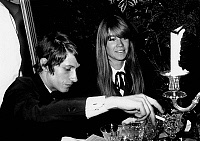 0146058 © Granger - Historical Picture ArchiveJACQUES DUTRONC AND FRANCOISE HARDY.   Jacques Dutronc and Francoise Hardy at diner of the Nuit du Centenaire of the Figaro, Paris, november 18, 1966. Full credit: AGIP - Rue des Archives / Granger, NYC -- All rights reserved.