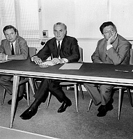 0146223 © Granger - Historical Picture ArchiveJACQUES PIETTE.   Claude Fuzier Georges Dayan and Jacques Piette during meeting with the Federation of the Democratic and Socialist Left at the headquarters of communist party in Paris july 25, 1967. Full credit: AGIP - Rue des Archives / Granger, NYC -- All Rights Reserved.