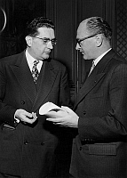 0146265 © Granger - Historical Picture ArchiveJACQUES SOUSTELLE AND GUY MOLLET.   Guy Mollet (r, president of the council) and Jacques Soustelle (general governor of Algeria) at the ministry of the Interior, paris, january 29, 1956. Full credit: AGIP - Rue des Archives / Granger, NYC -- All Rights Reserved.