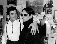0146609 © Granger - Historical Picture ArchiveJEAN CLAUDE BRIALY FELICITE PAR BARBARA.   French comedian Jean Claude Brialy congratulated by french singer Barbara in dressing room in a theatre in Paris for play Desire on february 7, 1984. Full credit: AGIP - Rue des Archives / Granger, NYC -- All Rights Reserved.