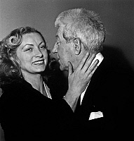 0146754 © Granger - Historical Picture ArchiveJEAN AND DOMINIQUE.   25th anniversary of Jean Gabin 's carreer at annual congress of French ciné-clubs Federation april 22, 1954 here with his wife Dominique Fournier. Full credit: AGIP - Rue des Archives / Granger, NYC -- All rights reser