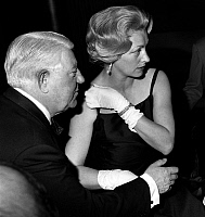 0146758 © Granger - Historical Picture ArchiveJEAN AND DOMINIQUE.   Jean Gabin, special guest at gala for his film The President, here with his wife Dominique Fournier march 01, 1961. Full credit: AGIP - Rue des Archives / Granger, NYC -- All Rights Reserved.