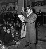 0147264 © Granger - Historical Picture ArchiveJEAN PIERRE LEAUD.   speech of french actor Leaud during demonstration for defence of french film archive institution in Paris. Full credit: AGIP - Rue des Archives / Granger, NYC -- All Rights Reserved.