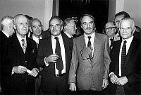 0147293 © Granger - Historical Picture ArchiveJEAN RASPAIL.   Jean Raspail has won prize of Academie Francaise for his book Pour moi Antoine de Tounens here with academicians Jean Mistler, Louis Leprince-Ringuet , Michel Deon, Maurice Druon, Maurice Rheims, Michel Droit and Felicien Marceau november 5, 1981. Full credit: AGIP - Rue des Archives / Granger, NYC -- All rights reserved.