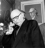0147362 © Granger - Historical Picture ArchiveJEAN ROSTAND.   Jean Rostand (1894-1977) french writer son of EdmondRostand here congratulating by phone because of his election at the Academie Francaise april 16, 1959. Full credit: AGIP - Rue des Archives / Granger, NYC -- All rights res
