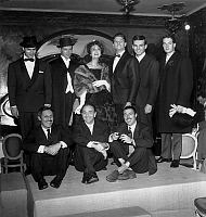 0147375 © Granger - Historical Picture ArchiveJEAN SABLON.   men fashion presented by french singers Jean Sablon (seated on l) and 2 of Freres Jacques october 23, 1958. Full credit: AGIP - Rue des Archives / Granger, NYC -- All Rights Reserved.