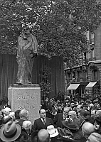 0147487 © Granger - Historical Picture ArchiveJEAN ZAY.   Jean Zay,french minsiter for Education and Fine Arts, in Paris in front of statue of Balzac by Rodin, february 1939. Full credit: AGIP - Rue des Archives / Granger, NYC -- All Rights Reserved.