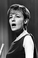 0147597 © Granger - Historical Picture ArchiveJEANNE MOREAU.   Jeanne Moreau singing the song of film Jules et Jim, may 4, 1963 in Montreux festival (France). Full credit: AGIP - Rue des Archives / Granger, NYC -- All rights r