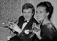 0147616 © Granger - Historical Picture ArchiveJEANNE MOREAU AND ALBERT FINNEY.   Jeanne Moreau and Albert Finney have received prize, Paris, december 18, 1962. Full credit: AGIP - Rue des Archives / Granger, NYC -- All rights