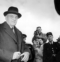 0147928 © Granger - Historical Picture ArchiveJOHN FOSTER DULLES.   state secretary of american government here with Harold Stassen director of the Mutual Security Agency and the Foreign Operations Administration , arriving in Paris airport back from Rome february 1, 1953. Full credit: AGIP - Rue des Archives / Granger, NYC -- All rights reserv