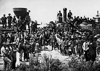 0148135 © Granger - Historical Picture ArchiveJONCTION OF CHEMINS OF FER A PROMONTORY POINT.   Promontory Point , Utah, may 10, 1869 : meeting between 2 locomotives : one of Union Pacific (from est), one of Central Pacific (from west) : completion of 1st transcontinental railway in USA. Full credit: AGIP - Rue des Archives / Granger, NYC -- All Rights Reserved.